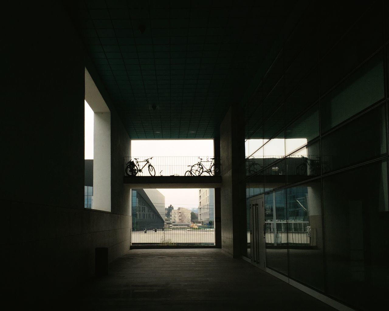 Low Angle View Of Bicycles Parked In Building