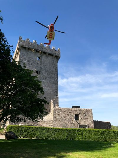 The Irish coast guard perform a rescue operation at Blarney Castle in Ireland Blarney Castle Emergency Rescue Distress Blarney Ireland Coast Guard Helicopter Castle