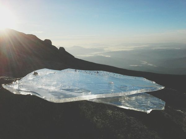 ice @mount kinabalu,sabah Nature Beauty In Nature Landscape Water Purity Mountain Scenics Sunlight Mountain Peak Sunset Hiking Outdoors Lake Sunbeam Freshness Motion Nature Reserve Sky No People Tree mountain