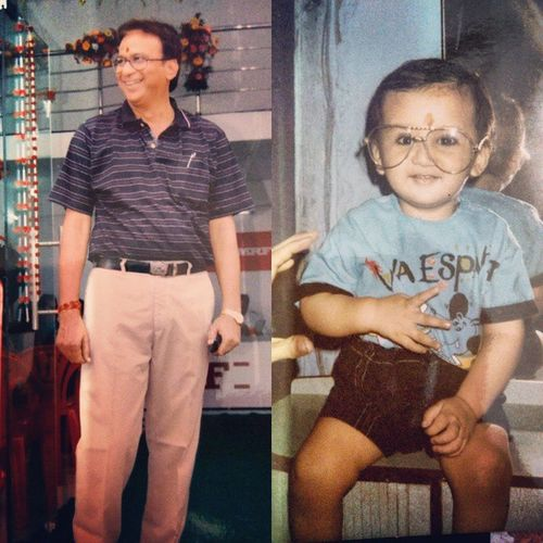 """My Dear Dad, May """"Ur"""" Guiding hand on my shoulder.. Will remain with me Forever. Happy Father's Day!! Oldpic Chotume Dad Fathersonbond 😘😘😍"""