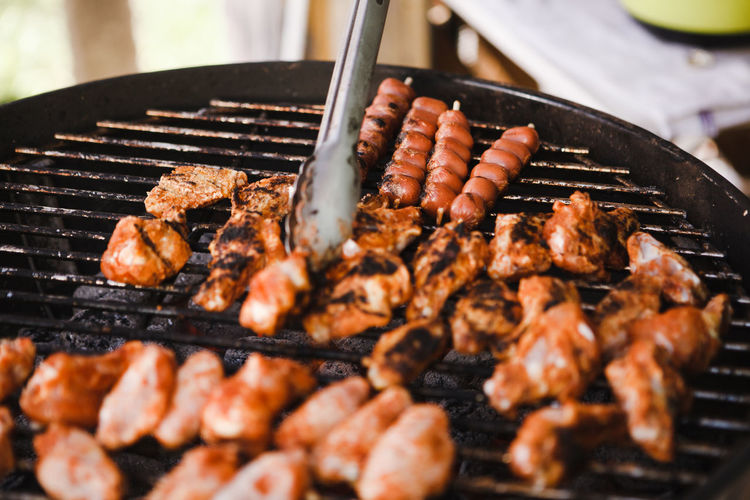 Barbecue Barbecue Grill Chicken Meat Close-up Day Focus On Foreground Food Food And Drink Freshness Grilled Heat - Temperature Kitchen Utensil Meat No People Outdoors Preparation  Preparing Food Selective Focus Serving Tongs Skewer Temptation White Meat