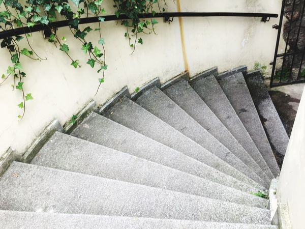 Round the corner down the stairs Rustic Stairs EyeEmNewHere Paris Spiral Staircase Steps Steps And Staircases Staircase Railing High Angle View Stairs Architecture No People