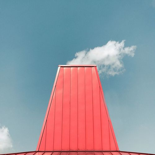 Low angle view of red structure against sky