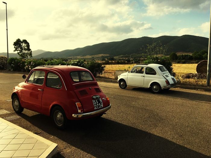 500L 500f Vintage Cars Impresa Viaggio Sardegna Fiat500 Mode Of Transportation Transportation Car Motor Vehicle Sky Land Vehicle Road Nature Mountain First Eyeem Photo