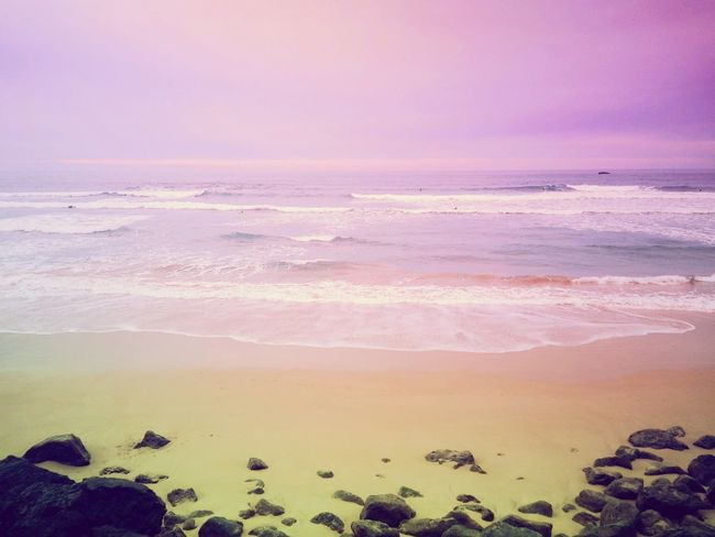 Beachtime Beach Pink Color Sea Nature Horizon Over Water Beauty In Nature Ocean Landscape Fluo  Surf Beachphotography Beach View Biarritz Water Sky No People Beautiful Colors