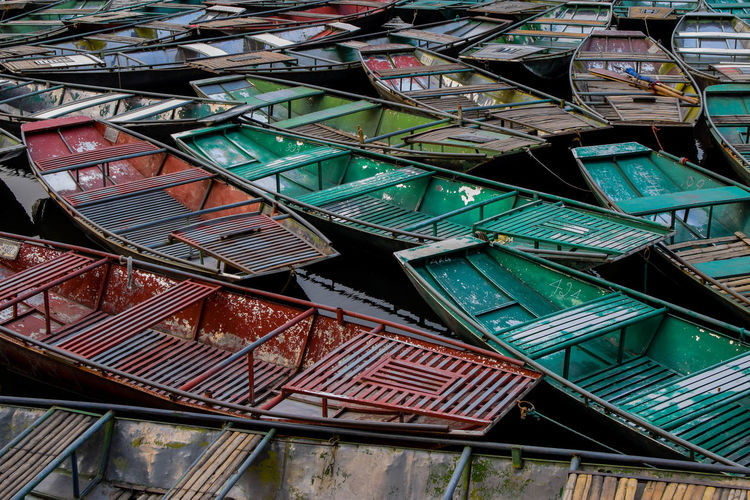 Boats moored in Tam Coc Travel Travel Photography Boats Colors Colorful Travel Photography Travel Boat Water Full Frame Built Structure Adventures In The City