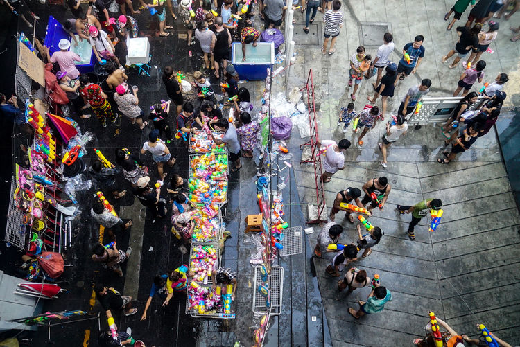 High Angle View Of Crowd At Street Market During Songkran Festival