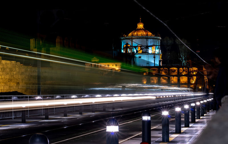 Architecture Illuminated Built Structure Night Motion Long Exposure Light Trail Building Exterior Blurred Motion Speed Transportation City Travel Destinations Religion Connection No People Bridge - Man Made Structure Place Of Worship Bridge Nature Outdoors
