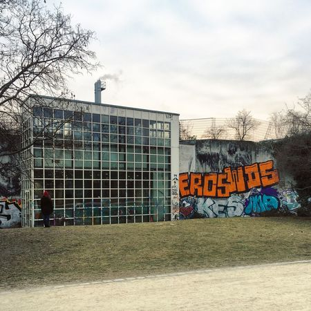 Architecture Berlin Photography Graffiti Görlitzer Park Abstract Architecture Bare Tree Berliner Ansichten Berlinstagram Building Exterior Built Structure City Communication Day Grass Minimal No People Outdoors Sky Spreewaldbad Streetart Streetphotography Swimming Pool Text Tree