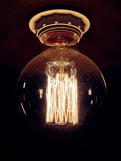 Indoors  Close-up No People Light Bulb Illuminated Filament Glass - Material Electricity  Light Lighting Equipment Glowing Electric Light