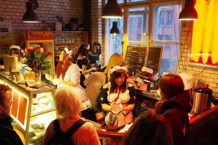 Berlin Cosplay Fantasy World Girls Japanese  Japanese Cafe Maids Ordering Food Preparing Food
