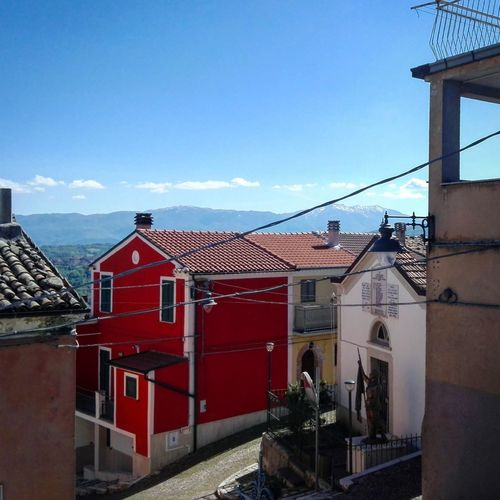 Molise (CB, Italy) Building Exterior Architecture Built Structure House Outdoors Sky Red Clear Sky Molise Italia Italy Urban Urban Landscape Landscape Village Village View Villagescape Red House Borgo Mountains Italianlandscape Blue Sky Paese Sud Italia Sud Italia South Italy