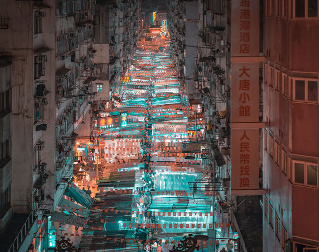 Temple Street Market Market Hong Kong ASIA Temple Street Lights Night Building Exterior Architecture Built Structure Civilization Historic Street Market Stall High Street Market Stall