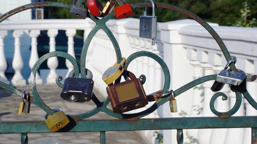 Close-up of love locks hanging on gate
