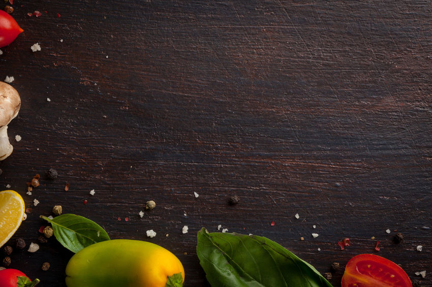 Food And Drink Freshness Vegetarian Food Background Photography Backgrounds Close-up Dark Wood Table Food Food Background Food Backround Food Photography Free Space Leaf Top Of View Top View Vegan Vegetable Wood Background