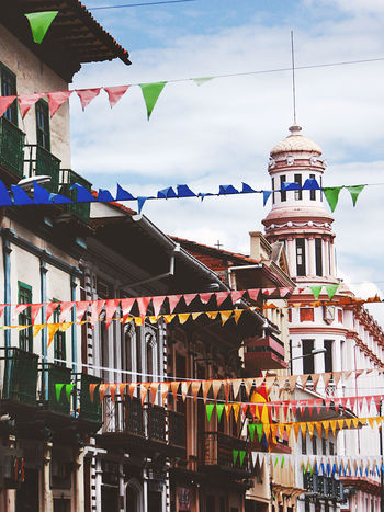 cuenca at national days Architecture Azuay Built Structure Celebrations Colonial Architecture Cuenca, Ecuador Day Ecuador Flags Multi Colored National Day Sky