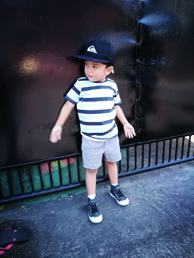 EyeEm Selects Headwear Child Full Length Males  Boys Standing Striped Shorts Casual Clothing