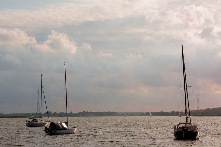 Schlei, Ostsee Baltic Sea Beauty In Nature Boat Cloud - Sky Cloudy Holidays Mast Mode Of Transport Moored Nautical Vessel Ostsee Sailboat Sailing Scenics Schlei Sea Sky Sunset Tourism Tranquil Scene Tranquility Transportation Travel Water Waterfront