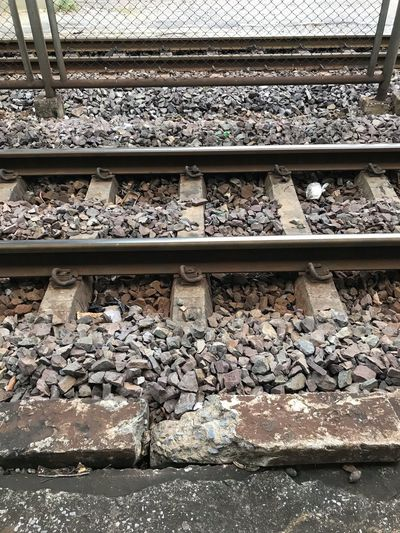 Old Track, railway train station Track Train Train Station Thailand Old Railway Train Railroad Train Tracks Track Railroad Track Rail Transportation Gravel Transportation Day Solid Pattern Railroad Tie Rock - Object Nature Metal Stone - Object No People High Angle View Mode Of Transportation Public Transportation
