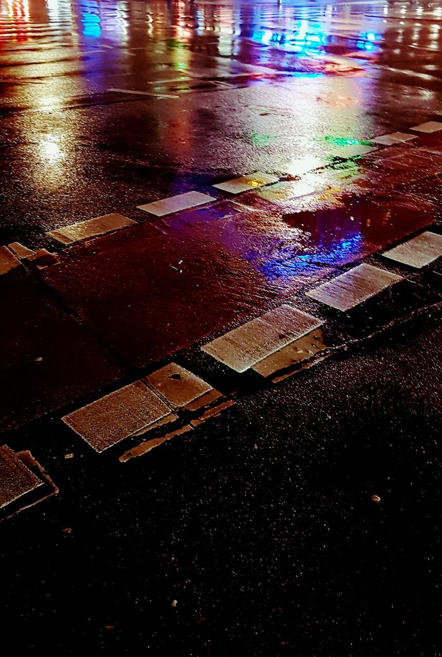 illuminated, no people, night, road, outdoors, water, close-up