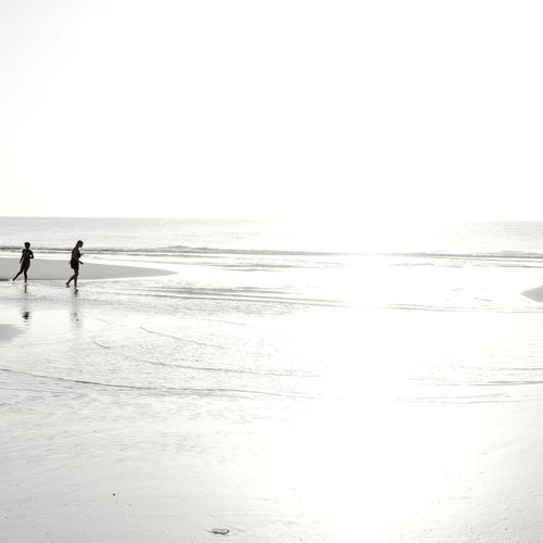 Silhouette people on shore at beach against sky