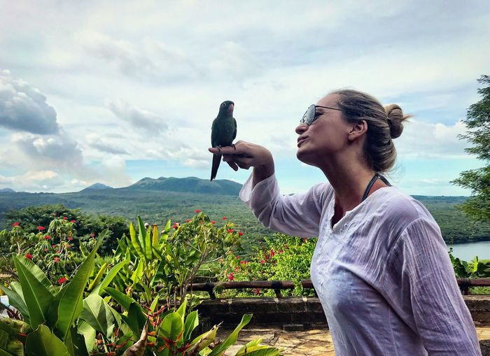 Parrot Bird Confidence  Bonding Togetherness Women Nicaragua Jungle Nature Sky One Person One Animal Outdoors Growth