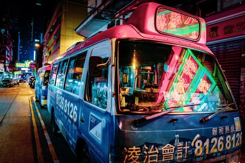Nightshooters Nightphotography Reframinghk Discoverhongkong Street Photography Illuminated Night Mode Of Transportation Text Architecture Transportation Communication Land Vehicle No People Western Script Public Transportation City Building Exterior Built Structure Travel Sign Street Neon Outdoors
