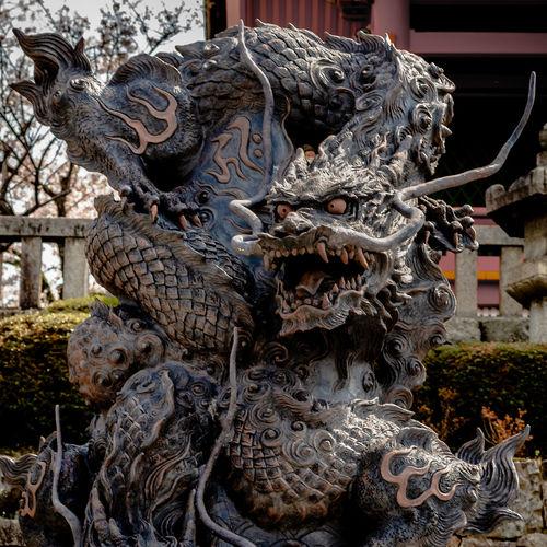 Dragon Dragon Sculpture Japan Kyoto Temple Arts Culture And Entertainment Close-up Statue Sculpture Art