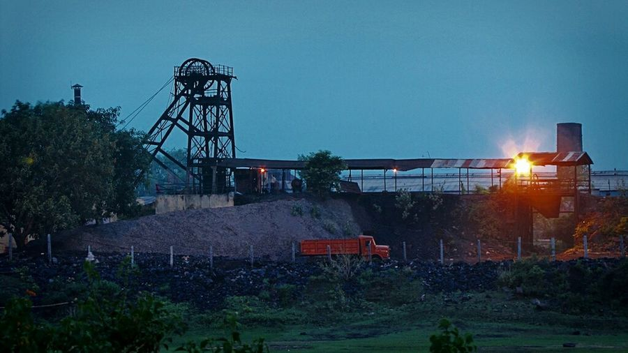 A Clear Sky Is Falling To Make Architecture new Sky of a coal loading area ..₩, Kumardhubi Collery, Dhanbad, Jharkhand India