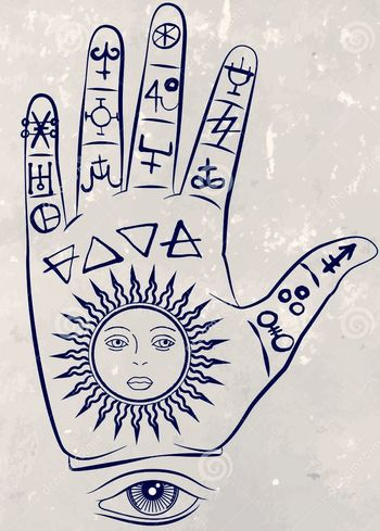 Alchemy Symbols Palmistry Sketch Human Body Part Ink Human Hand Day Adult People