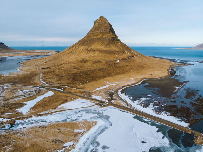 The spearhead mountain. Check out my prints at https://simonmigaj.com/shop/ and visit my IG http://www.instagram.com/simonmigaj for more inspirational photography from around the world. Kirkjufell Iceland Travel Landscape Aerial Dji Mavic Air Westfjords Water Mountain Sand Road Sky Landscape Cloud - Sky Travel Pyramid Shape Pyramid Triangle Triangle Shape