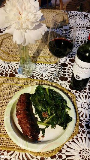 Steak Braggs 24 Spice Collard Greens Viu Manent Cabernet_sauvignon Home Grown Peony