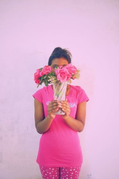 Millennial Pink Flower Pink Color Studio Shot Pink Background Colored Background Bouquet One Person Petal Bunch Of Flowers People Adult Adults Only Flower Head One Woman Only Fragility Nature Only Women Freshness Day Pink Outfit Face Covered Face Hidden VSCO Portraitist