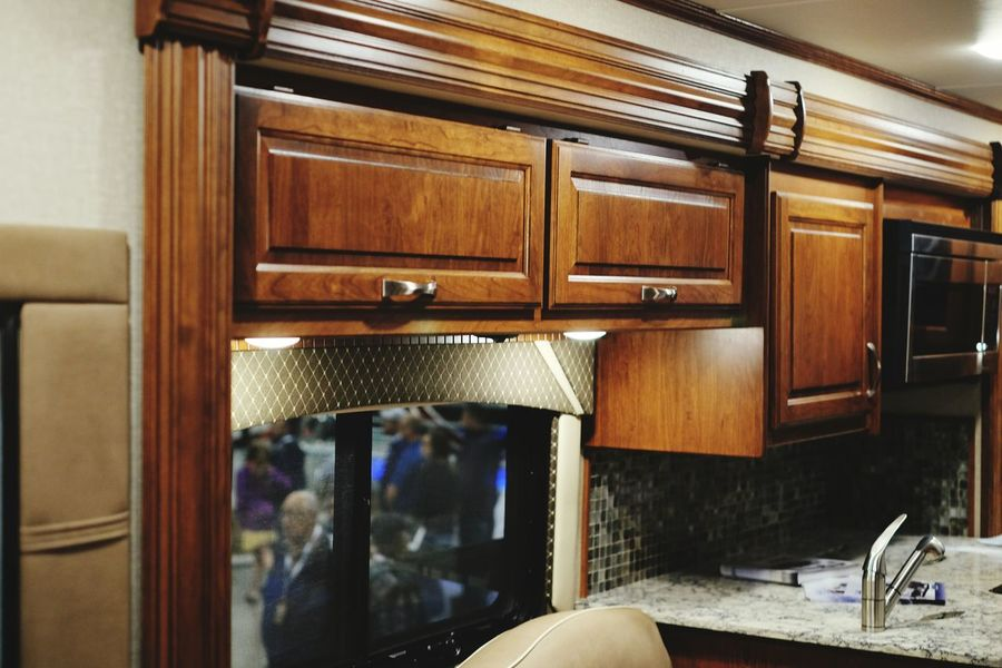 All the comforts of home, the sales rep said they could install a dishwasher as well. Tour Bus Mobile Home Big Rig On The Road
