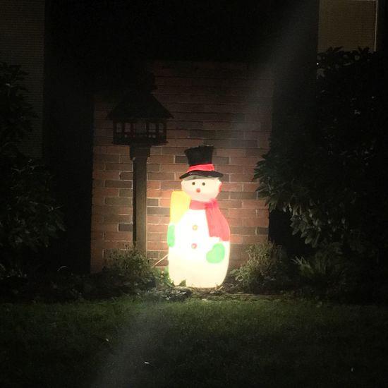 Fun to see the neighborhood Christmas decorations. Illuminated Night Celebration Christmas No People Christmas Decoration Snowman Glowing Glow Christmas Time Exterior Decoration