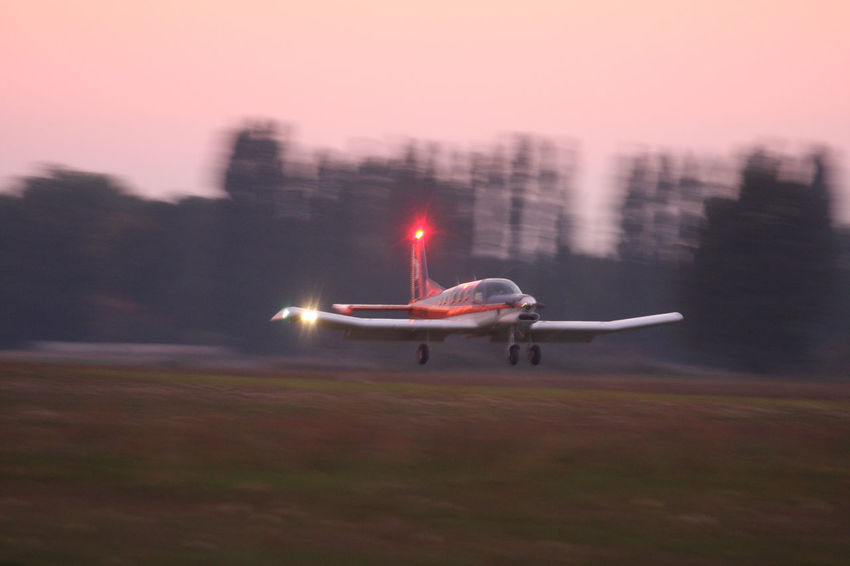 Airfield Airplane Illuminated Mode Of Transport Moving Outdoors PAC 750 XL Speed Starting Sunset Take Off Transportation