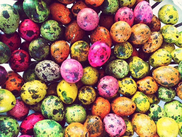 Easter Ready Colorful Easter eggs to decorate my home Easter Eggs Easter Easter Egg Colorful Color Colors Misshappiness Quail Eggs Backgrounds Background Surface Textures And Surfaces Bright Bright Colors