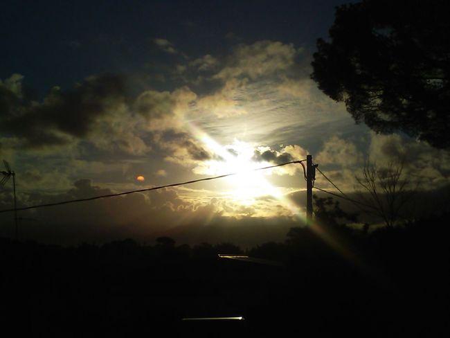 Sunrise ⛅🌂 Sunrise Tree Soccer Field Silhouette Cloud - Sky Telephone Line