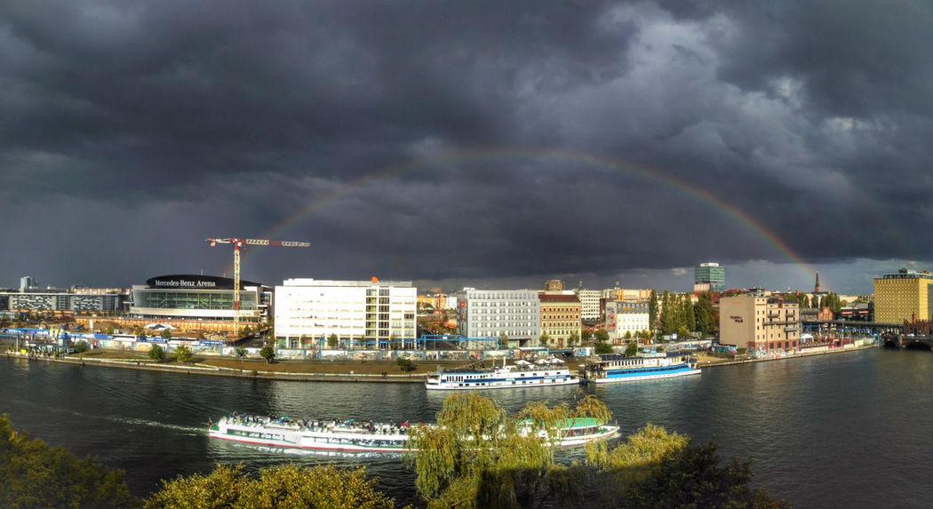 Friedrichshainer Rainbow Cityscape Thunderstorm Sky Crane Spree East Side Gallery Clouds Rainbow