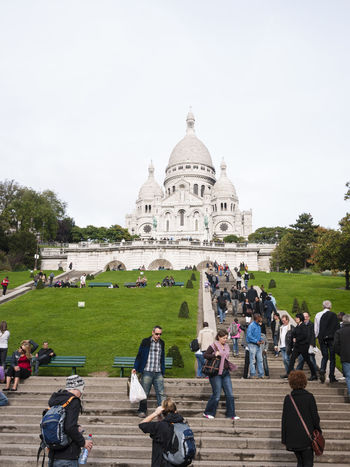 Sacre Coeur, Paris Adult Adults Only Architecture Building Exterior Church City Day Dome France Full Length Grass Hill Landmark Large Group Of People Men Montmartre Montmartre, Paris Outdoors Paris, France  People Religion Sacré Coeur, Paris Travel Travel Destinations Women