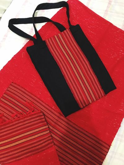 wear your culture EyeEmNewHere Benguet Baguio City Igorot Weave Red Indoors  No People Close-up Still Life High Angle View Art And Craft Pattern Textile Striped Representation Man Made White Color