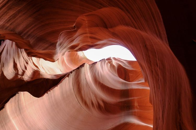 Low angle view of rock formations of antelope canyon