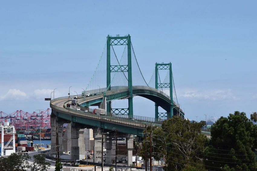 Vincent Thomas Bridge San Pedro California Built Structure Engineering Transportation Suspension Bridge Outdoors Cars