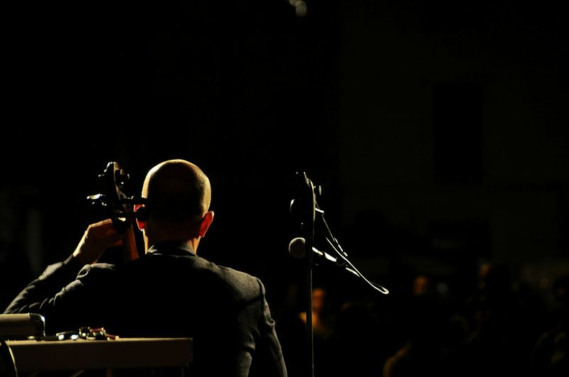 Rear view of man performing on stage at music concert