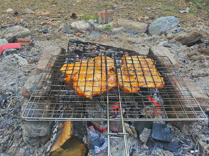 Campfire on barbecue grill