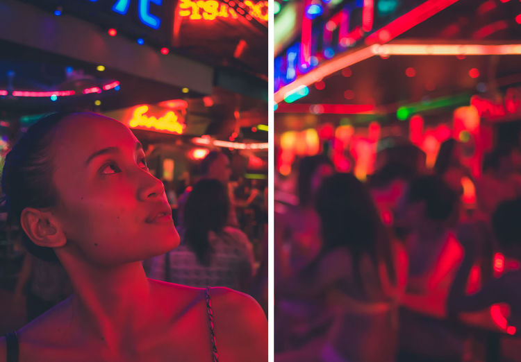 Close-up of illuminated lighting equipment at nightclub