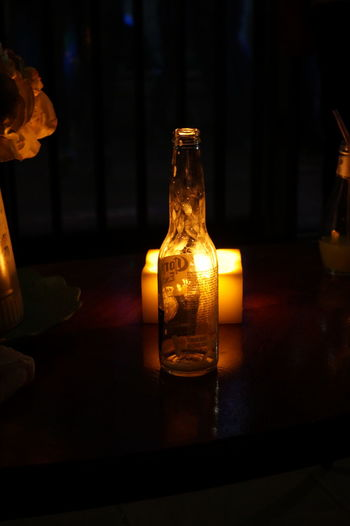 Cheers Lowexposure Night Candlelight Empty Beer Corona Lowlight Light Light And Shadow Bottle