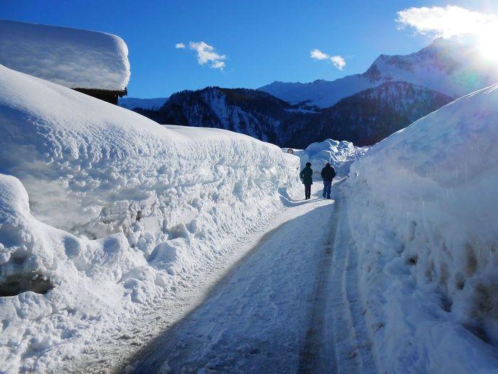 Walking in winter Mountains Sauris