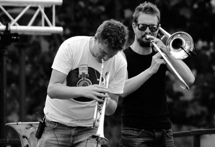 Fat Bastard Band Concert Live Music Taking Photos Trombone Trompette Black And White Blackandwhite