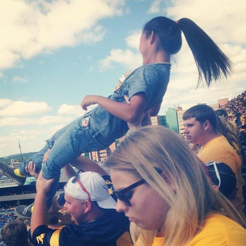Push ups at the game. WVU Footballgame Beatgeorgiastate